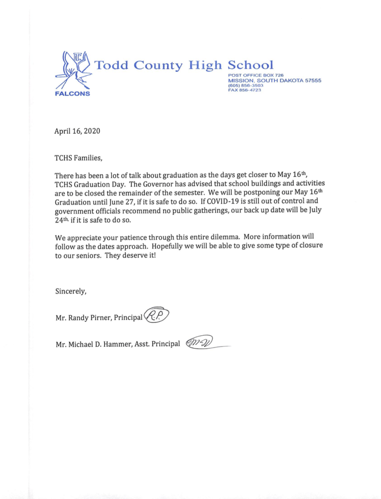 TCHS Graduation information update April 16th, 2020