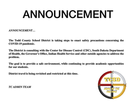 ANNOUNCEMENT TCSD PRECAUTIONS COVID-19