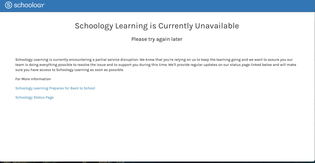 Schoology unavailable